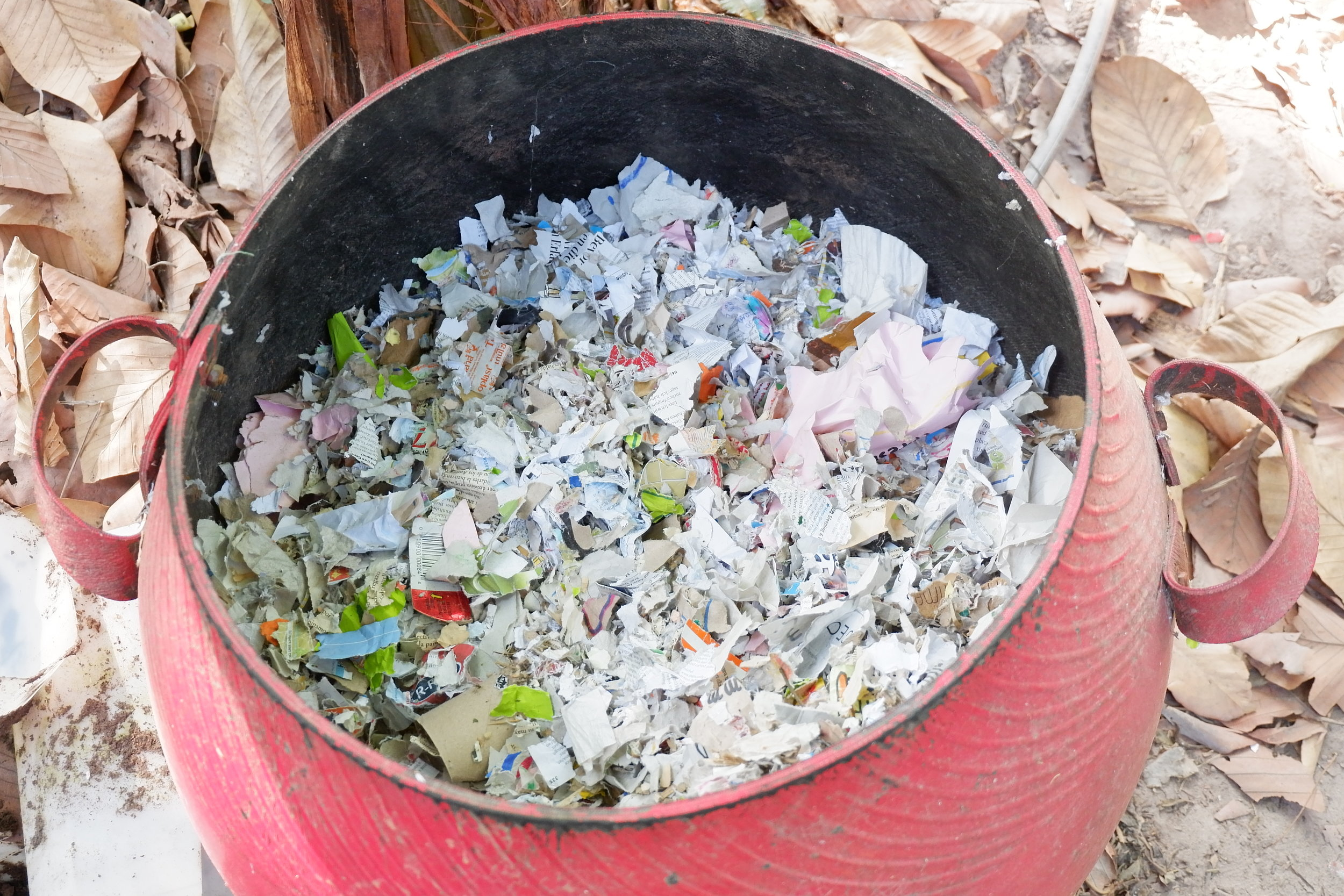 Shreded paper and a little water makes a perfect bedding for compost worms.