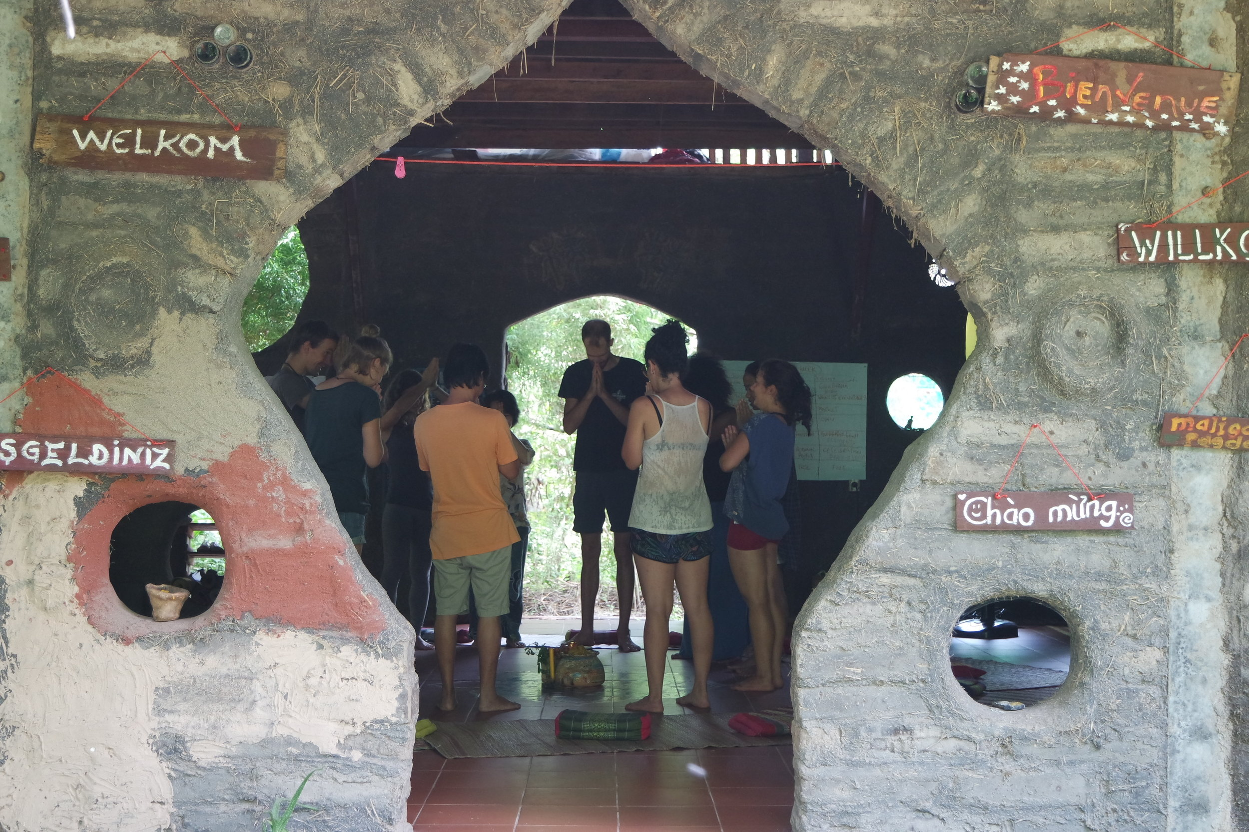 Food blessing at Gaia Ashram to come to the present moment and express gratitude before every meal.