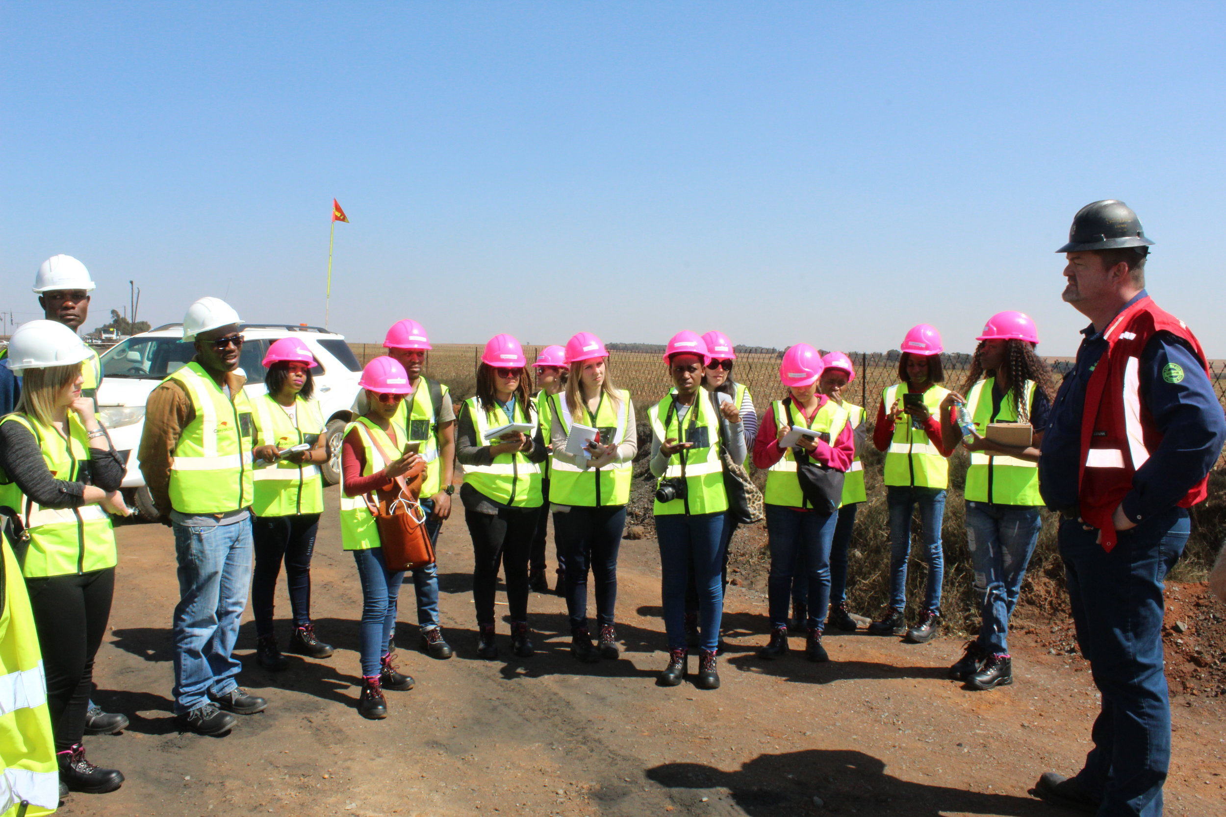 GM Alan Mabbett takes questions from journalists during a tour of Phalanndwa Mine.