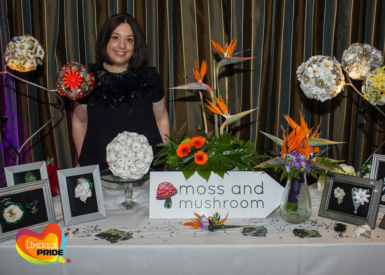 My name is Liza Keane, - and I live in beautiful Ballina/Killaloe, on the shores of Lough Derg in north County Tipperary, with my husband, our triplets and our 3 cats.  After working in science and publishing for over 15 years, I decided to re-train as a florist, and I established moss and mushroom in 2013.  Specialising in wedding floristry and heirloom bouquets, I now transform fresh flowers, jewellery, ceramics, metal, fabric and other materials into distinctive bouquets, arrangements and accessories for weddings and other events.I source flowers and other materials from all over the world, but I especially love to work with local Irish flower growers, and craftspeople.  I always aim to ensure that brides and grooms enjoy the process of choosing the look for their big day, and that their choices truly reflect their taste and personality.If you would like to have a chat with me about your wedding or other event, send me a message via the