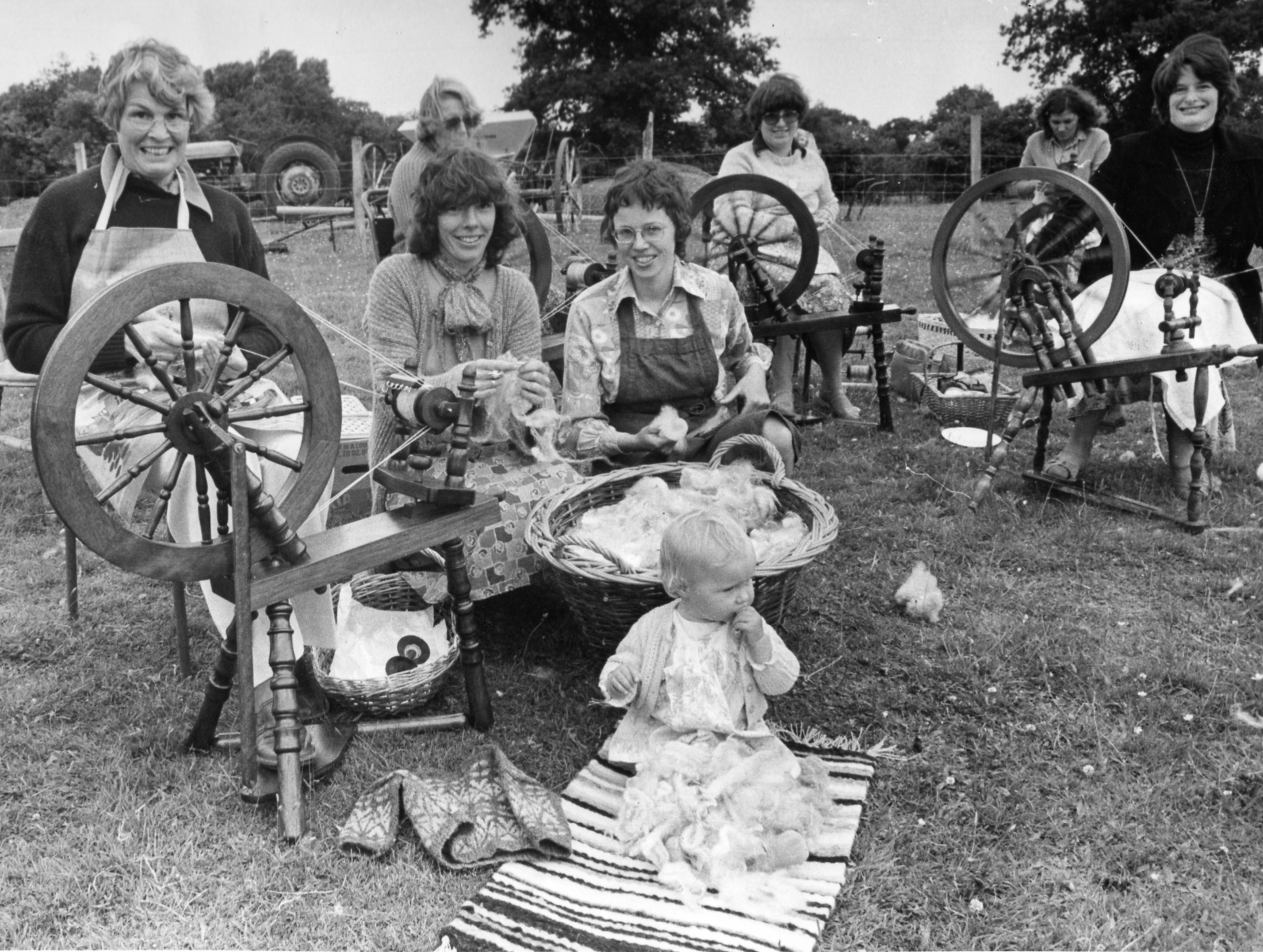 1979 - Attending her first spinning class run by her mother (centre left in the picture).