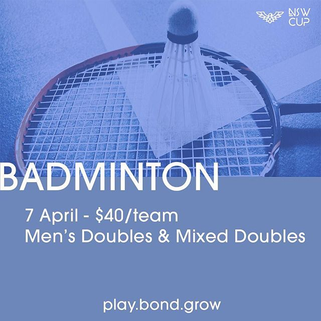 Play•Bond•Grow! Our annual event NSW CUP is coming this APRIL. Do you think you have what it takes to win? Show your badminton skill in this upcoming cup! Register yourself through this website https://goo.gl/forms/WZNQwhy3E5PR6ocU2 or easily click the link in our bio🏸