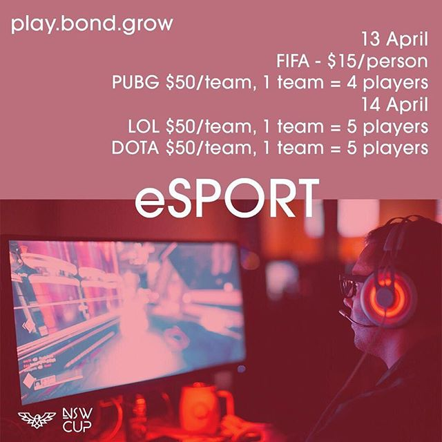 Play•Bond•Grow! Our annual event NSW CUP is coming this APRIL. Our new competition eSPORT is here to challenge you👌🏼 show off your gaming skill and register yourself through this website https://goo.gl/forms/WZNQwhy3E5PR6ocU2 or easily click the link in our bio🎮