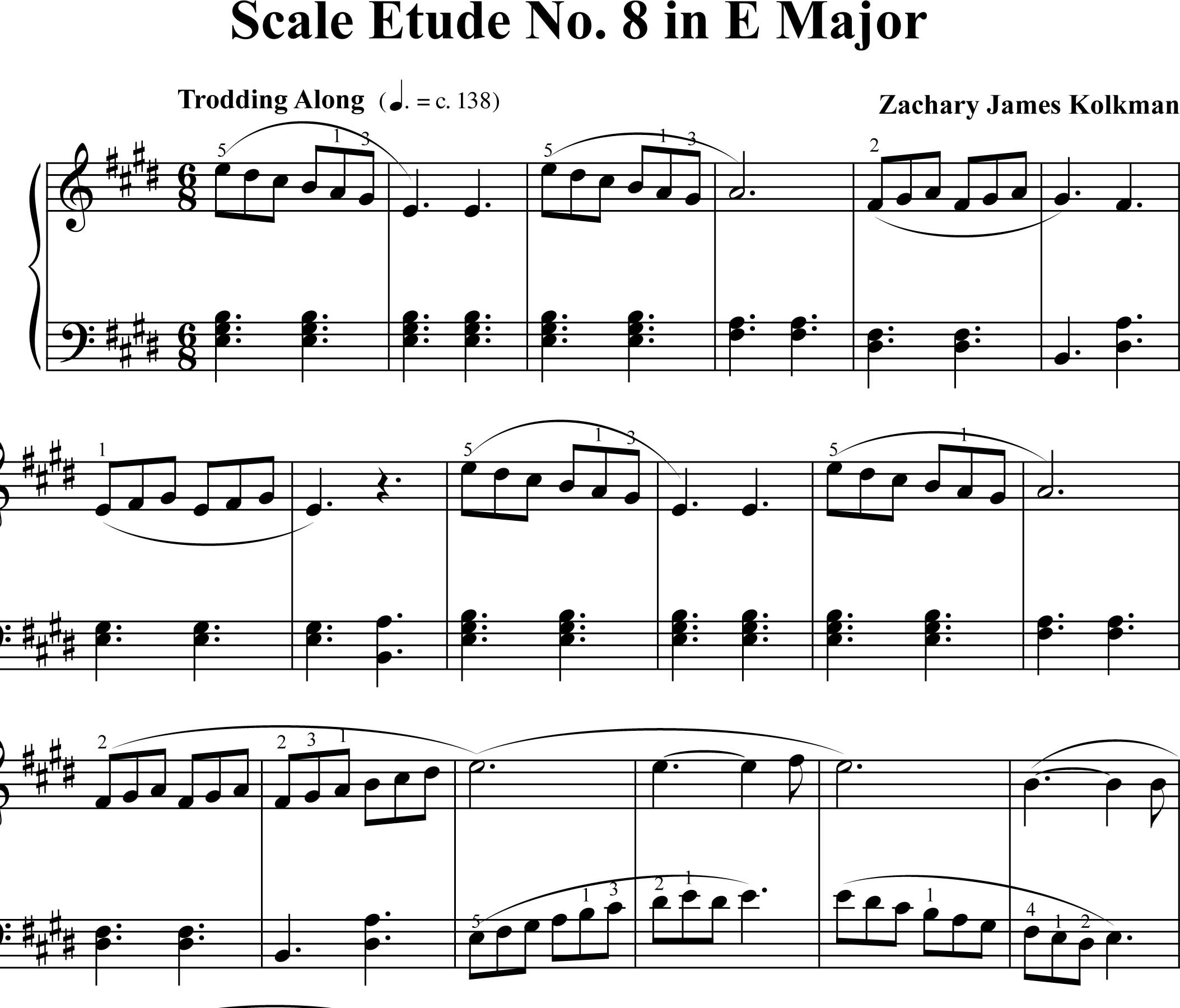 Sheet Music Download:  Scale Etude No. 8 in E Major