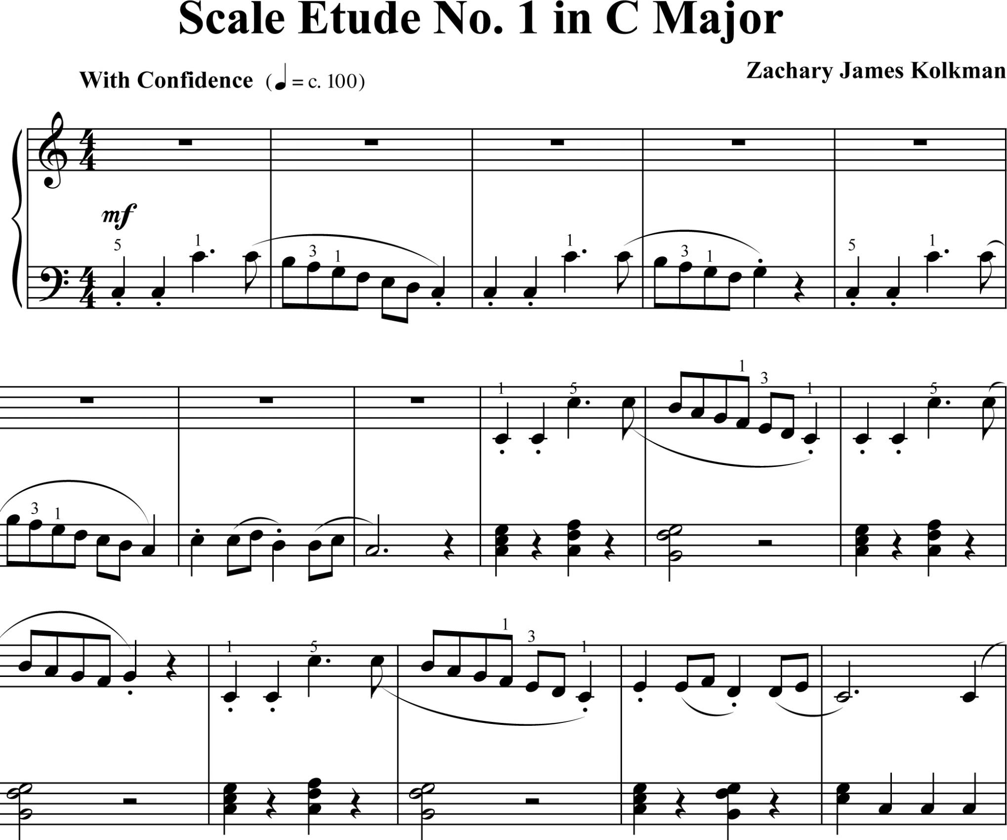 Sheet Music Download:  Scale Etude No. 1 in C Major
