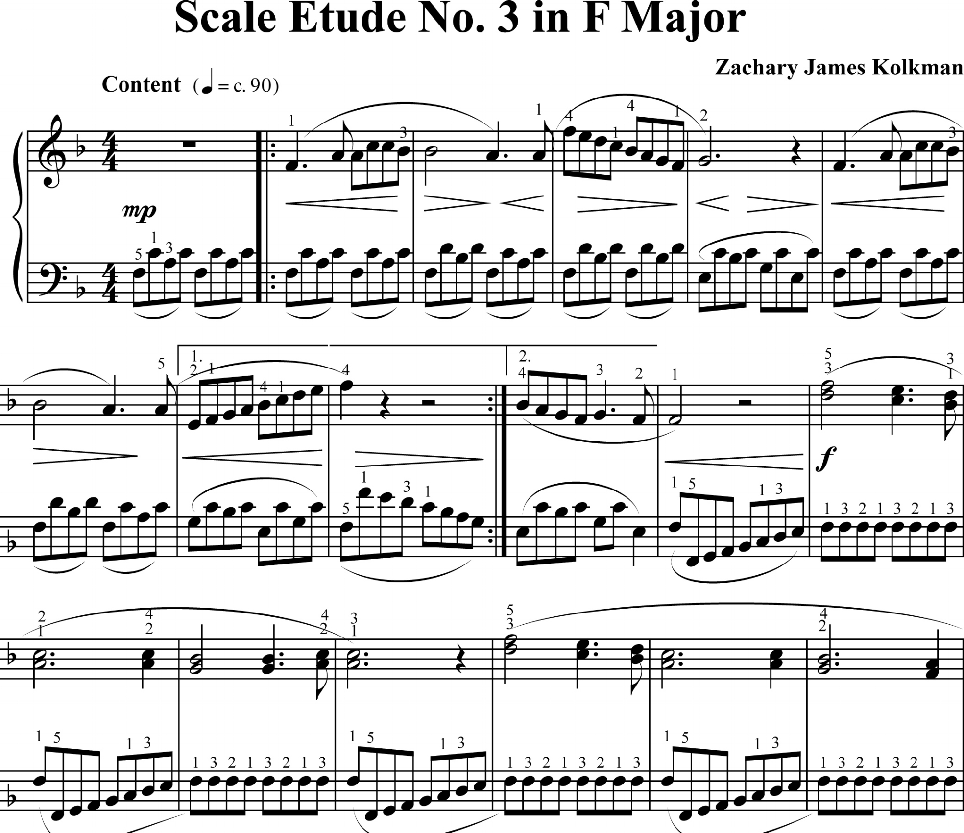 Sheet Music Download:  Scale Etude No. 3 in F Major