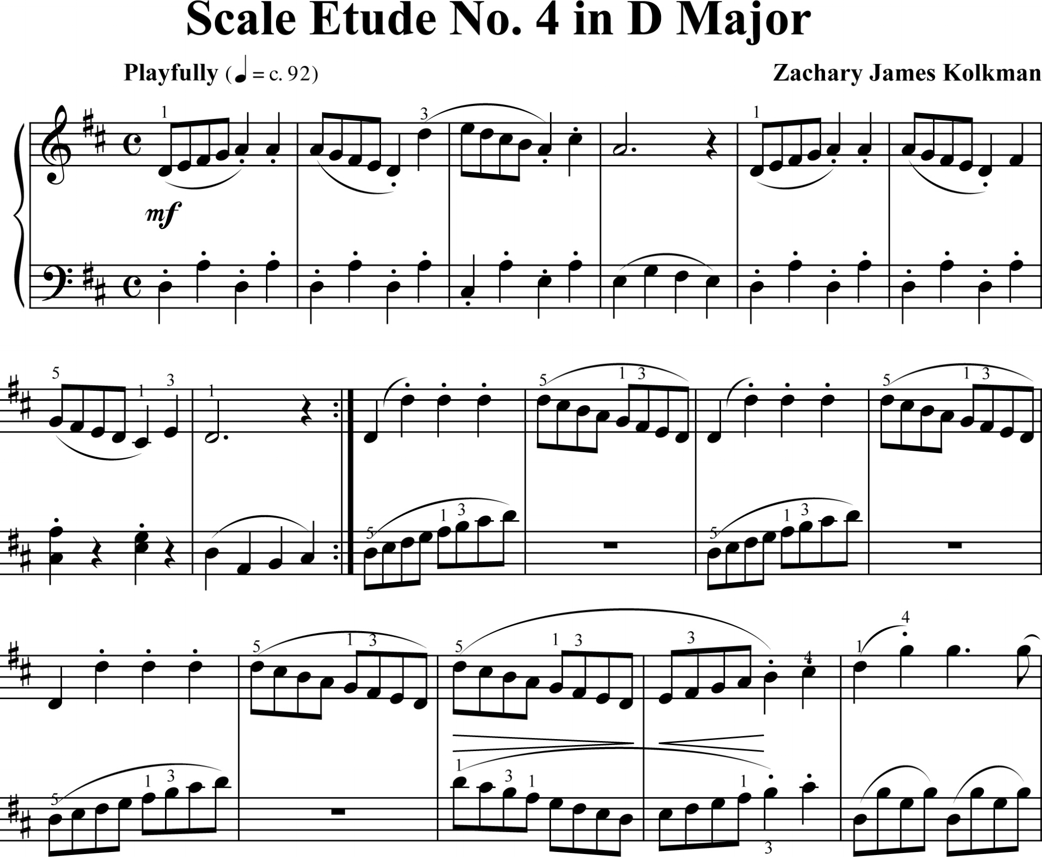 Sheet Music Download:  Scale Etude No. 4 in D Major