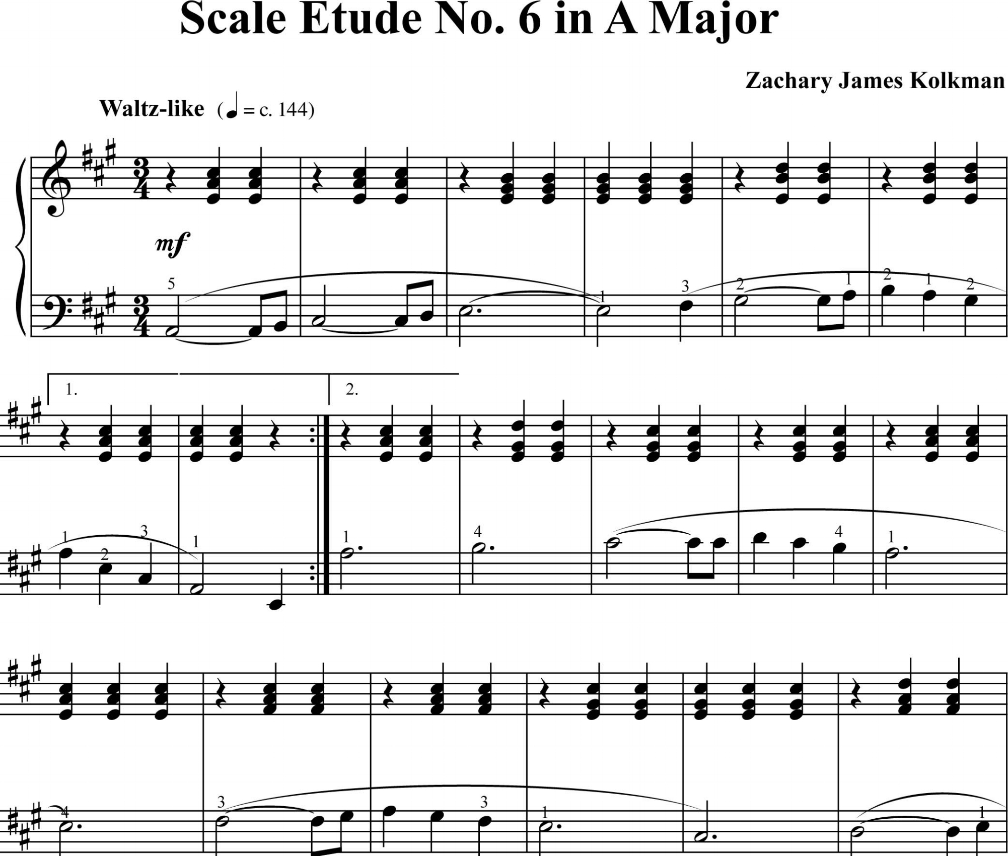 Sheet Music Download:  Scale Etude No. 6 in A Major