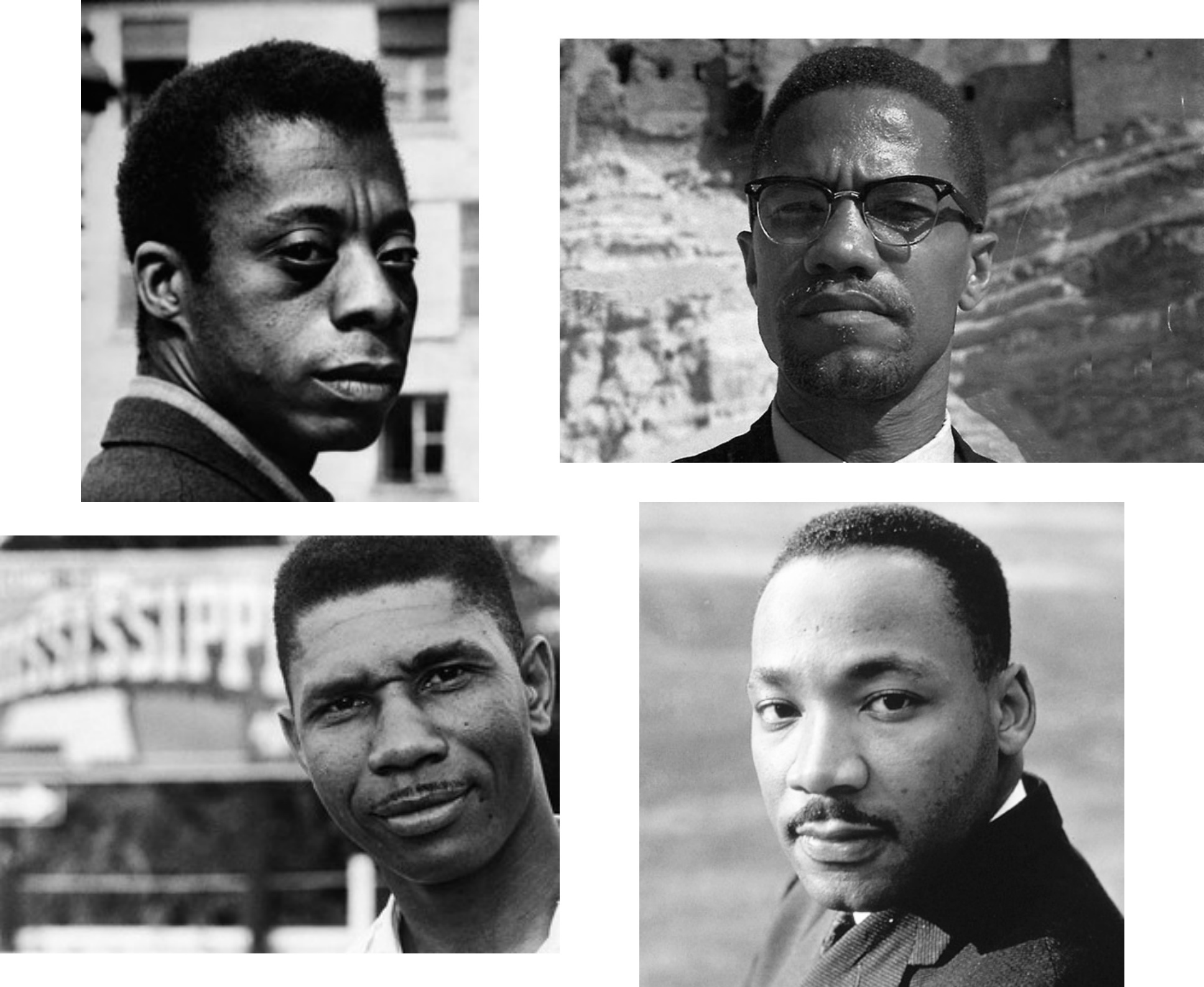 The film,  I Am Not Your Negro , written by James Baldwin explores the relationship between his close friends. Clockwise from top left: James Baldwin, Malcolm X, Martin Luther King Jr. and Medgar Evers.   *See the trailer for,  I Am Not Your Negro , at the end of this post.