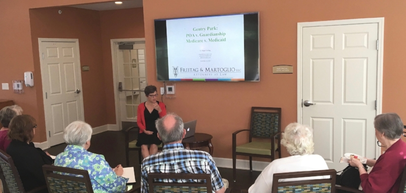 Attorney Paige Freitag answered questions on Medicaid, POAs and Guardianships at Gentry Park Senior Living on September 28, 2017.