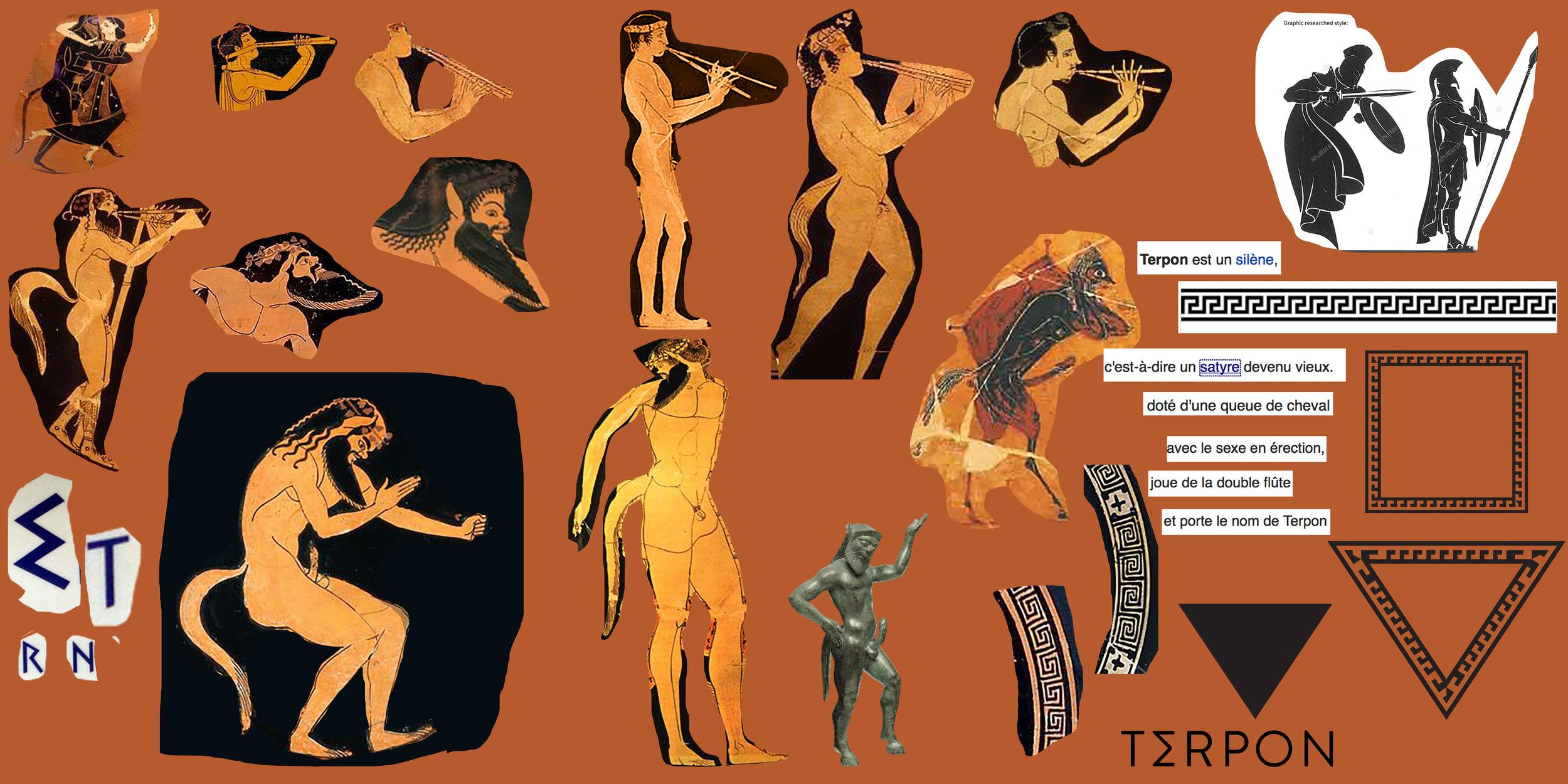 Planche d'inspirations et références graphiques. Images d'archives illustrant TERPON