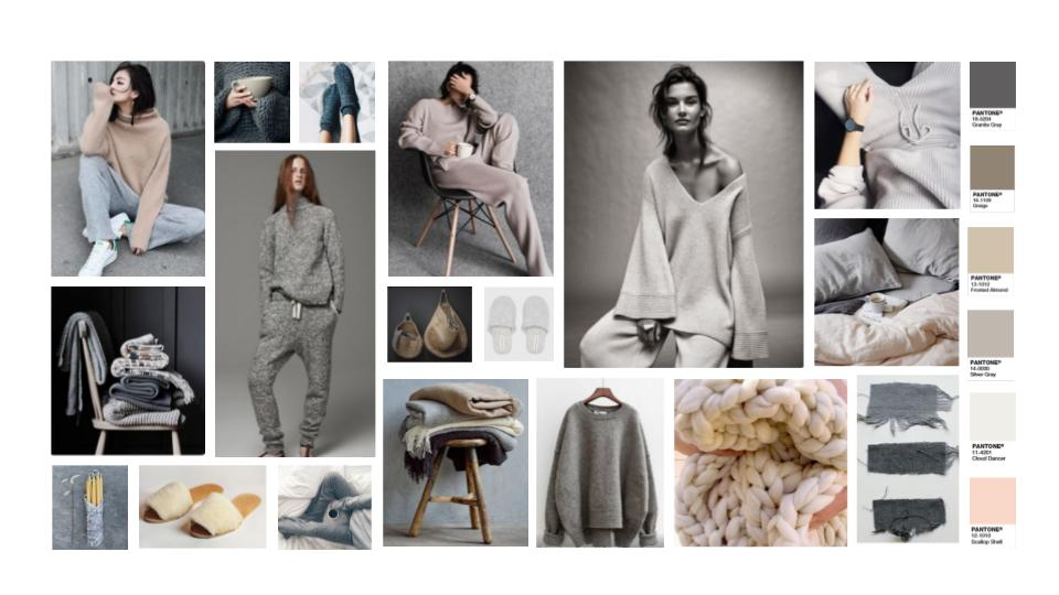 Part of a mood board I created for a brand that are moving into the lounge wear sector