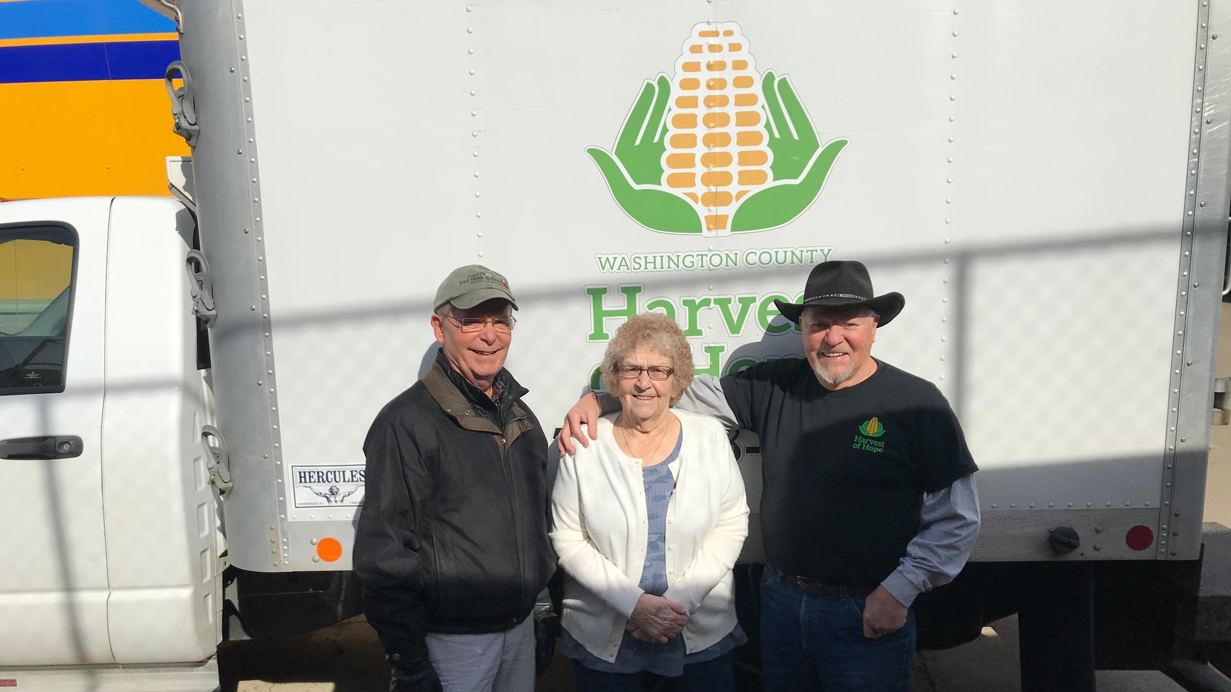 From left to right: Joe Baker (Harvest of Hope), Ruth Griffin (Director of Tri-County Food Pantry), LeRoy McCarty (Harvest of Hope Volunteer)