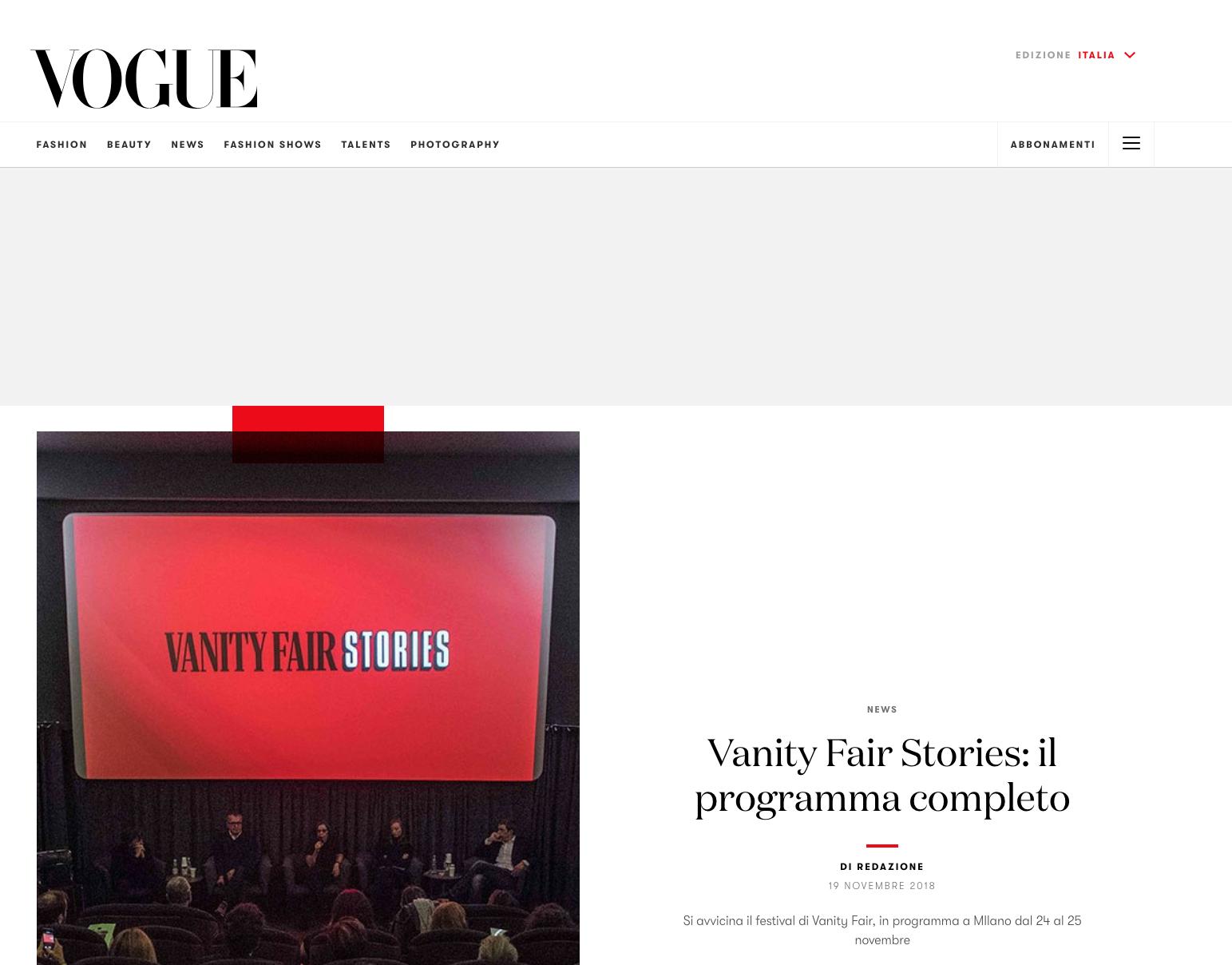 VOGUE ITALIA - VANITY FAIR LINE-UP
