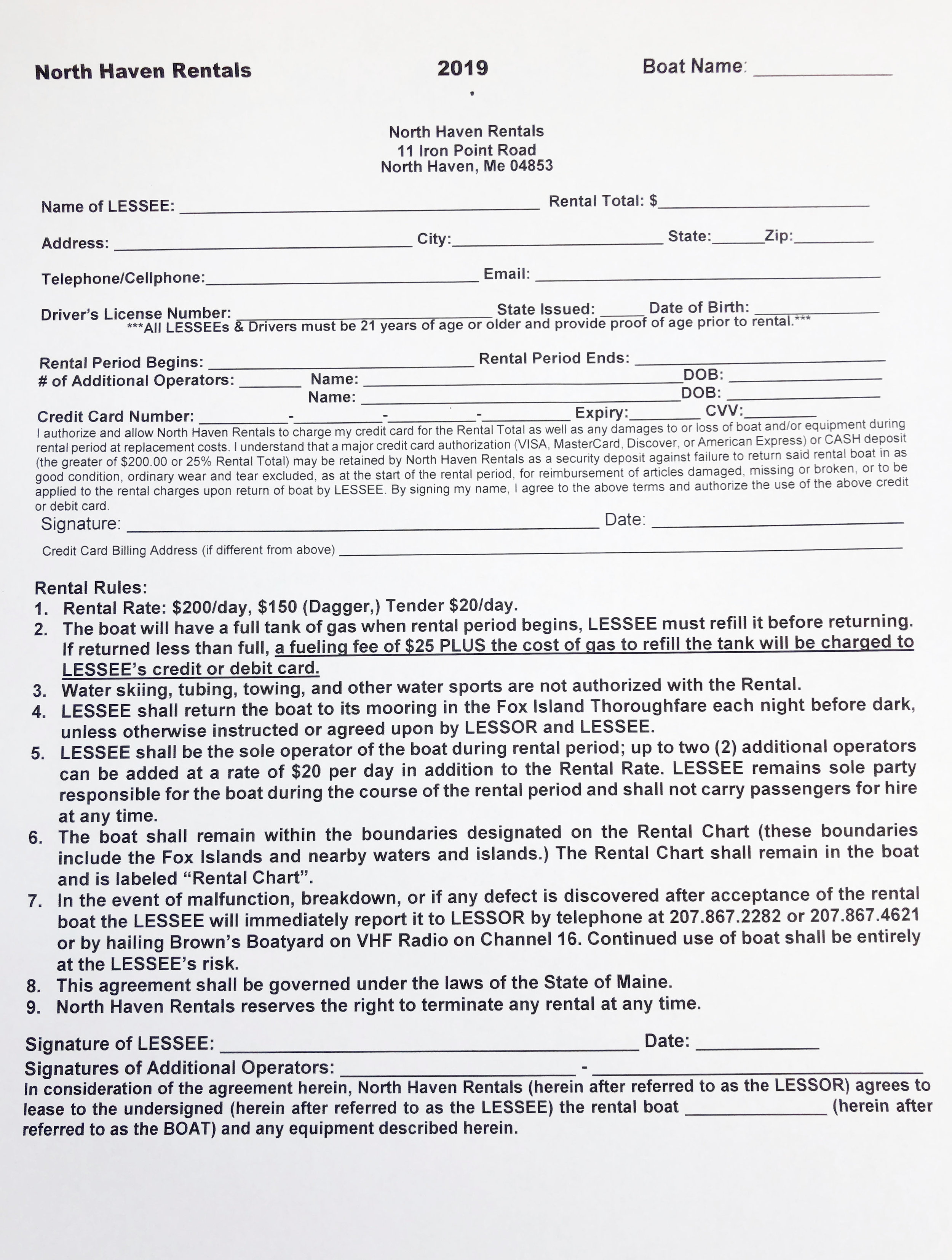 Page 1 Boat Rental Agreement