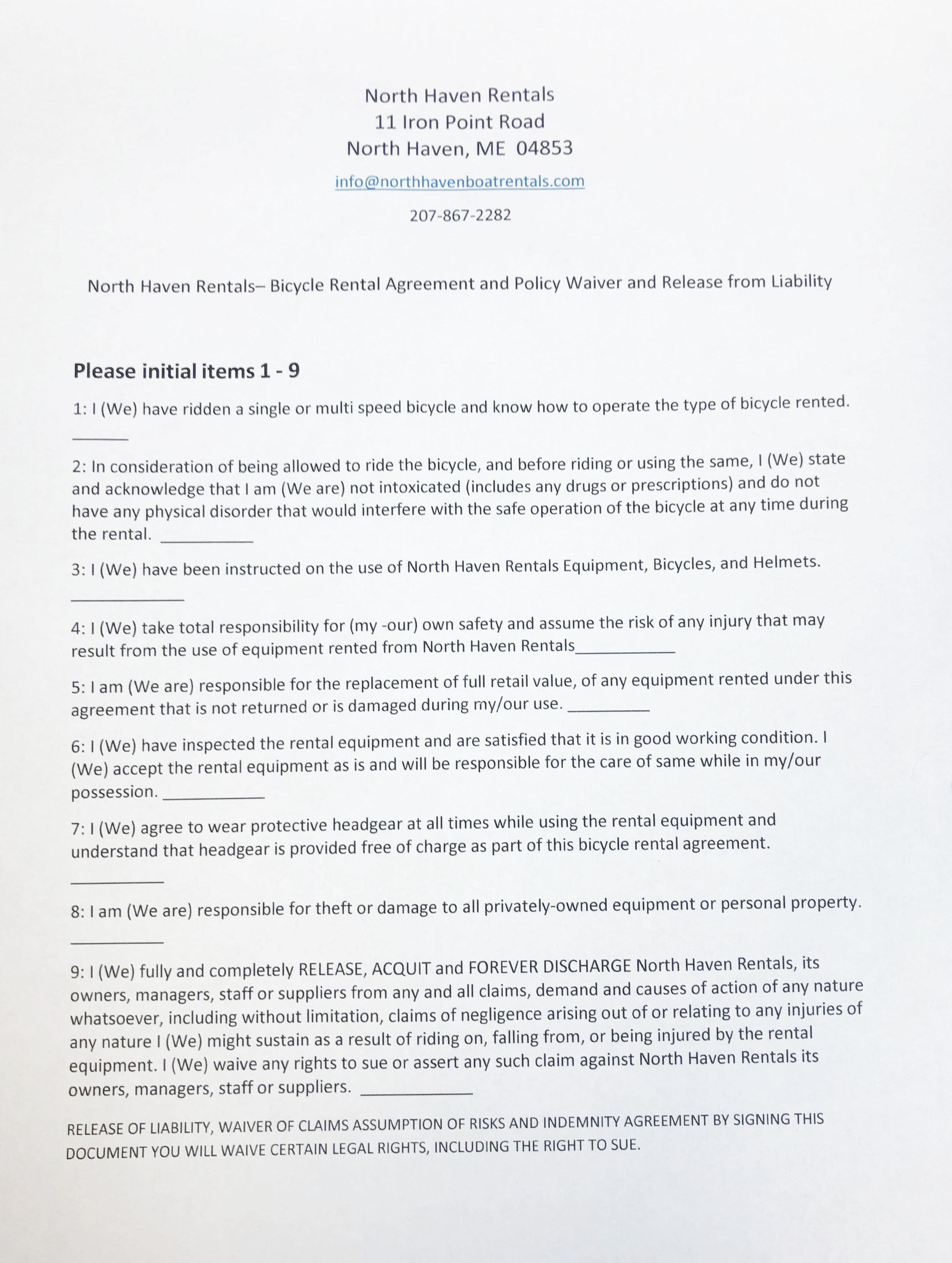 Page 1 Bike Rental Agreement