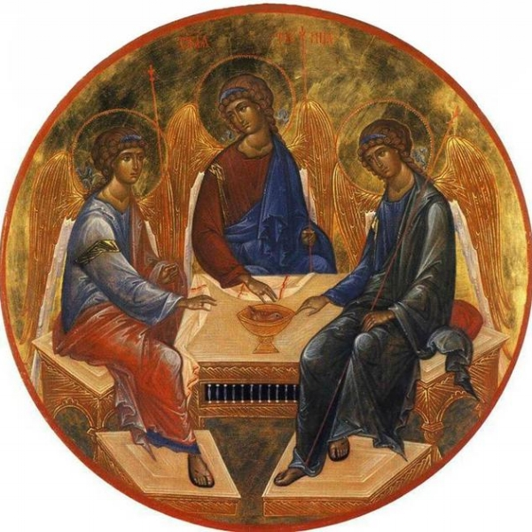 A book miniature depiction of  Andrei Rublev 's   Trinity  ,Russia