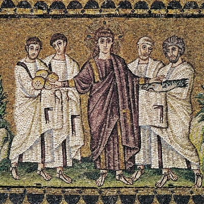 Image: The Miracle of the Loaves and Fishes, mosaic (ca 504 AC). Sant' Aopllinare Nuovo, Ravenna, Italy.