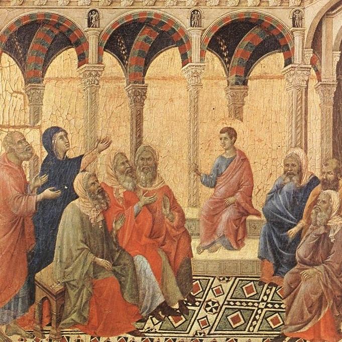 image:  Disputation with the Doctors  by Duccio di Buoninsegna,  wikimedia