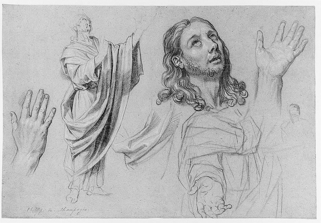 image: Studies for 'The Conversion of the Jailer before Saint Paul and Silas' by Nicolas de Plattemontagne ( wikimedia )