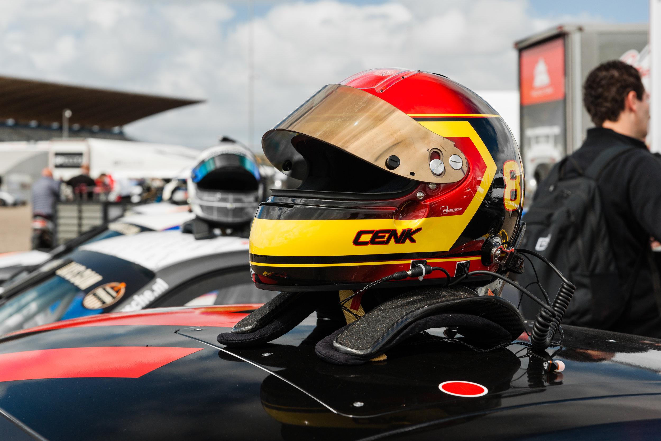 Helmet on a Porsche
