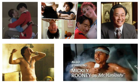 Clockwise from top left: Long Duk Dong in  16 Candles , Long Duk Dong in  16 Candles , Mike Yanagita in  Fargo ,  Mr. Yunioshi in  Breakfast at Tiffany's  , and  Mr. Chow in  The Hangover