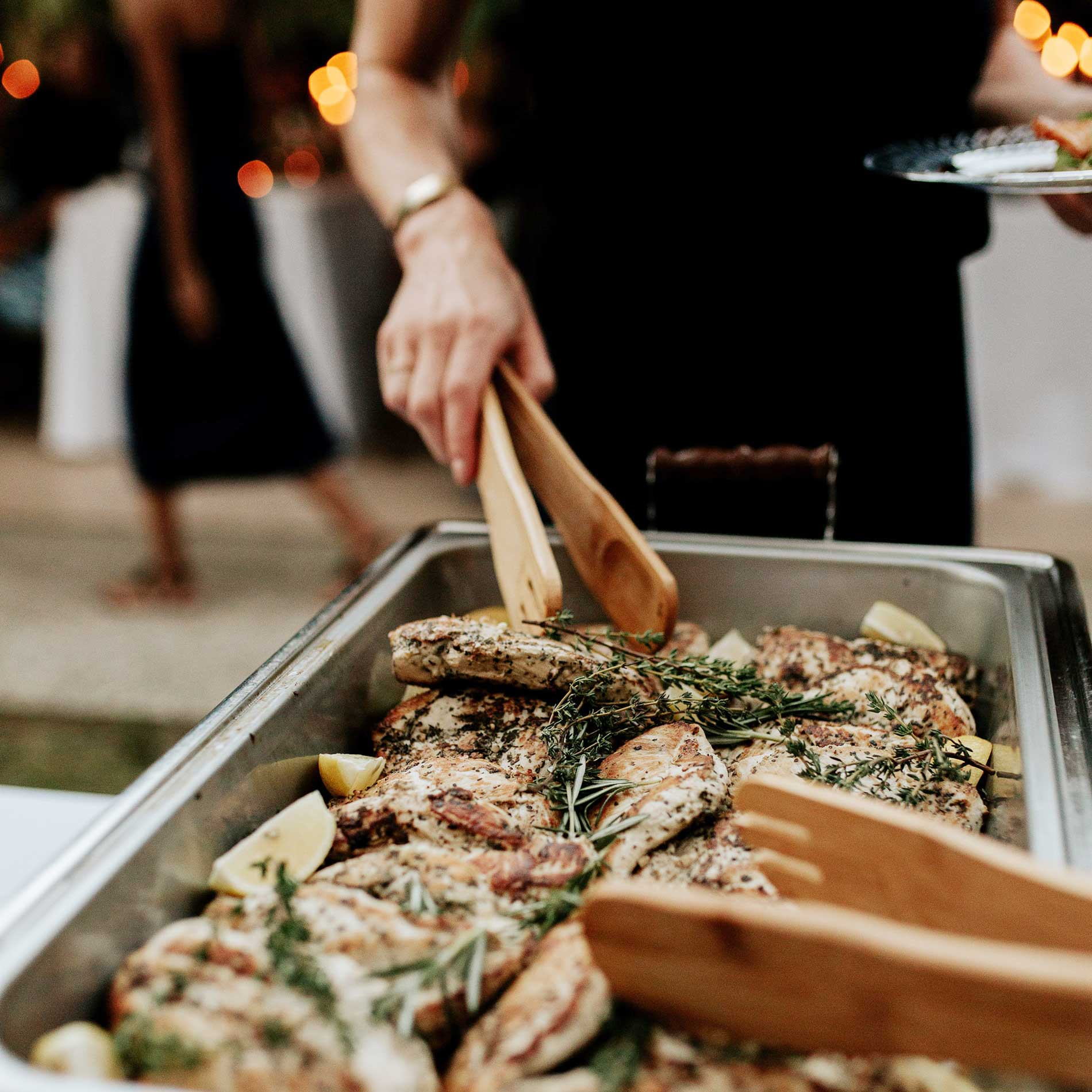 Herbed chicken cutlets at the Mary Grace and Judd Kennedy wedding.