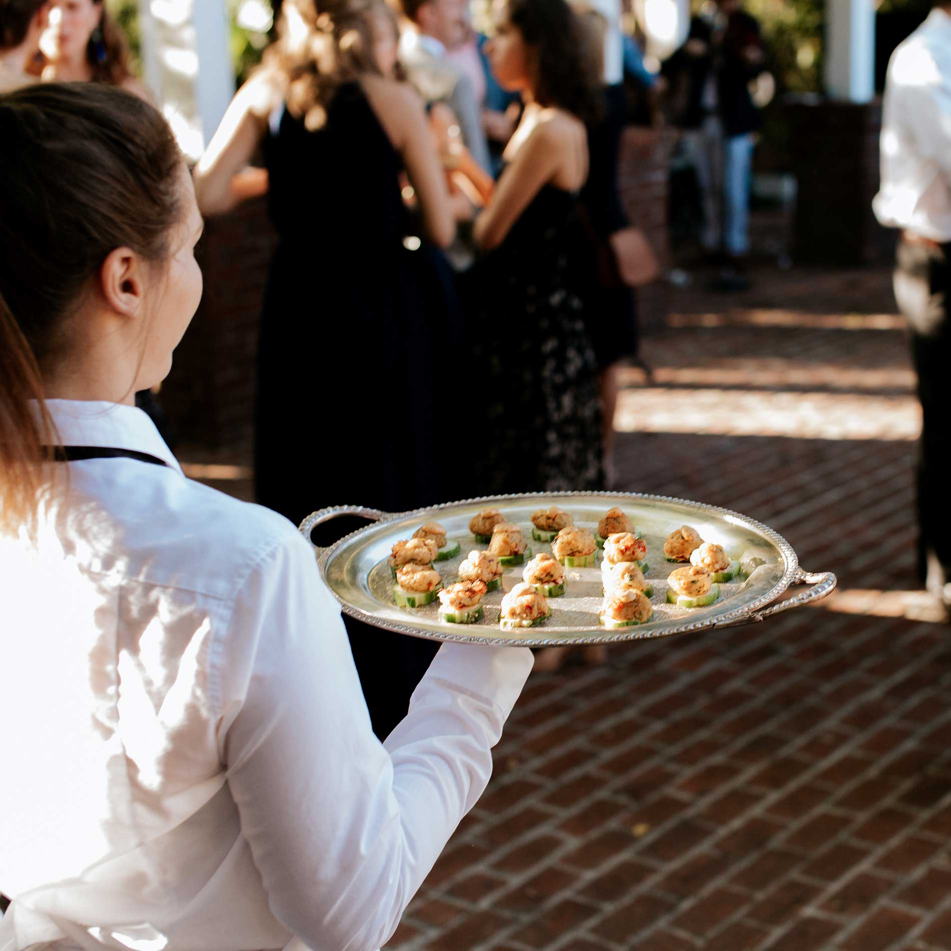Passed appetizers at the Judd and Mary Grace Kennedy Wedding.