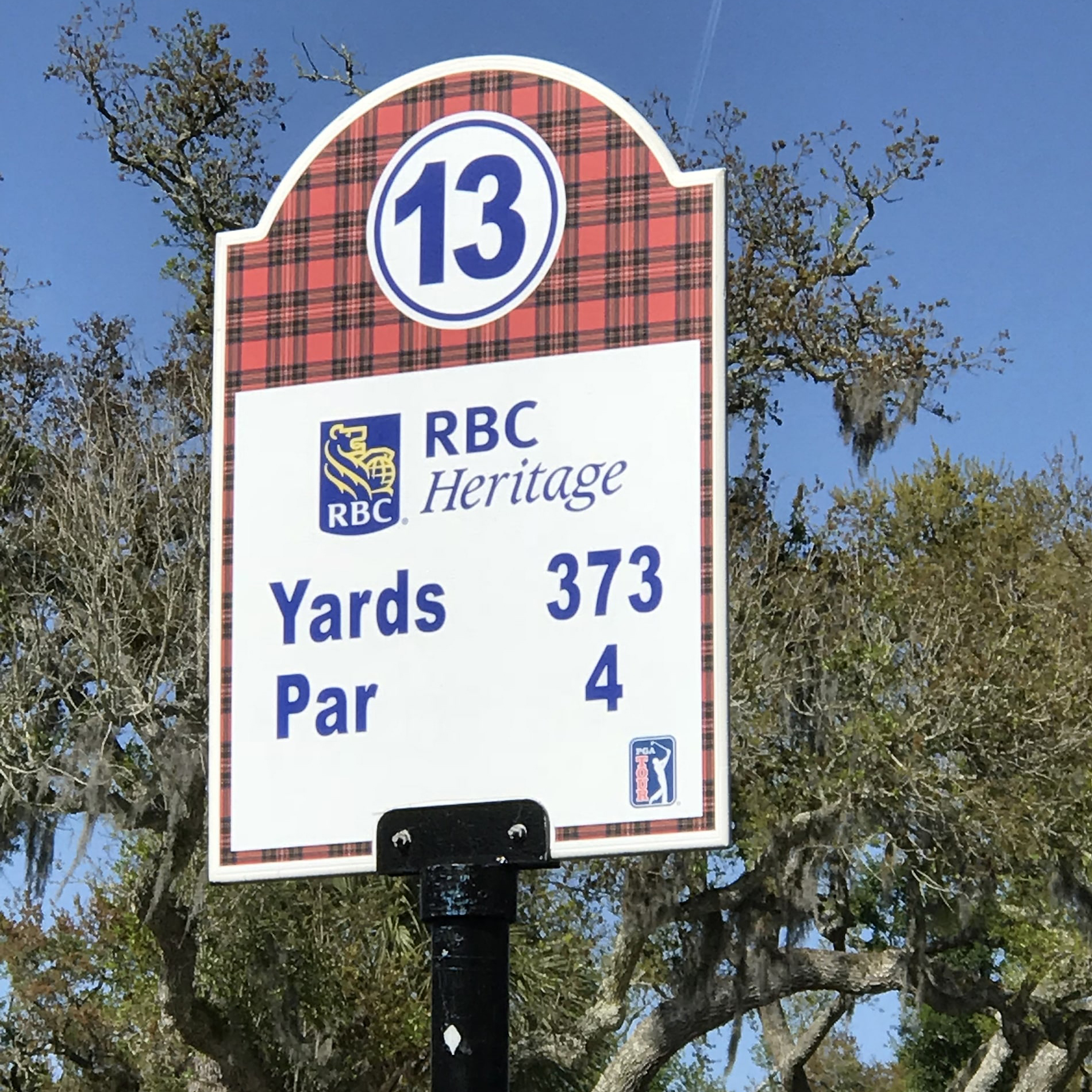 Signage at the RBC Heritage, Harbor Town Golf Links in Hilton Head, Georgia.
