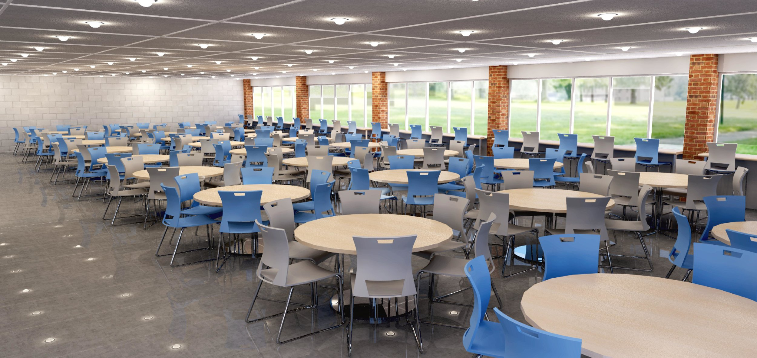 Rendering of proposed cafeteria dining hall