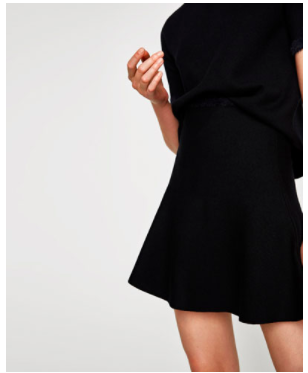 Zara black a line mini skirt