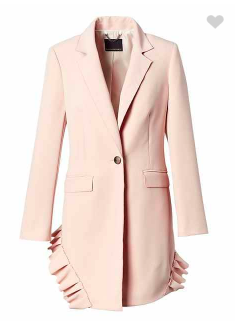 Blush pink Ruffle Accent Topcoat