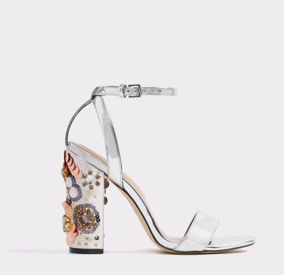 Silver Embellished Block Heel