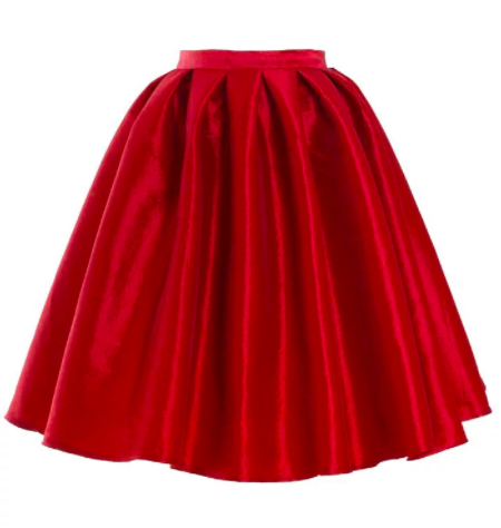 Red A line Midi skirt