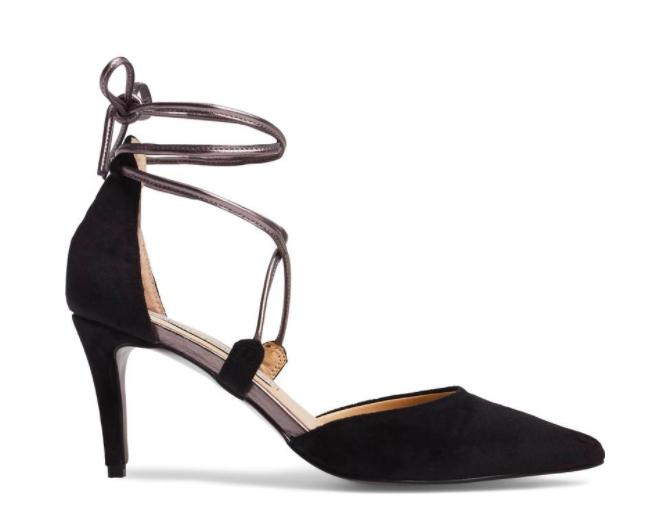 Velvet black lace up heels