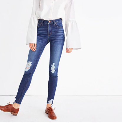 High-rise skinny distressed jeans