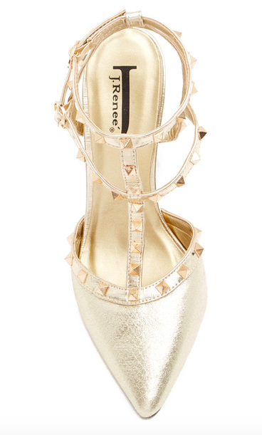 t-strap heels in gold