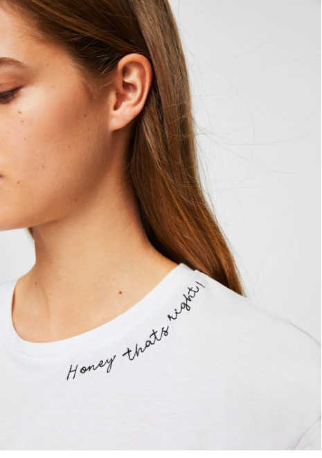 white tee with words