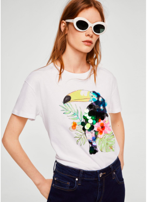 sequin print t-shirt