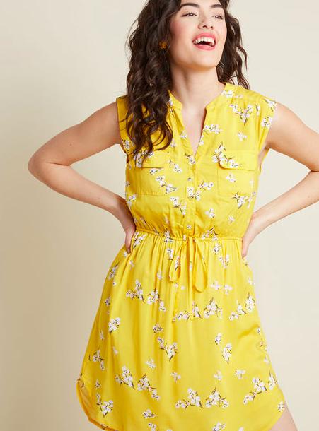 Yellow Sleeveless summer Dress