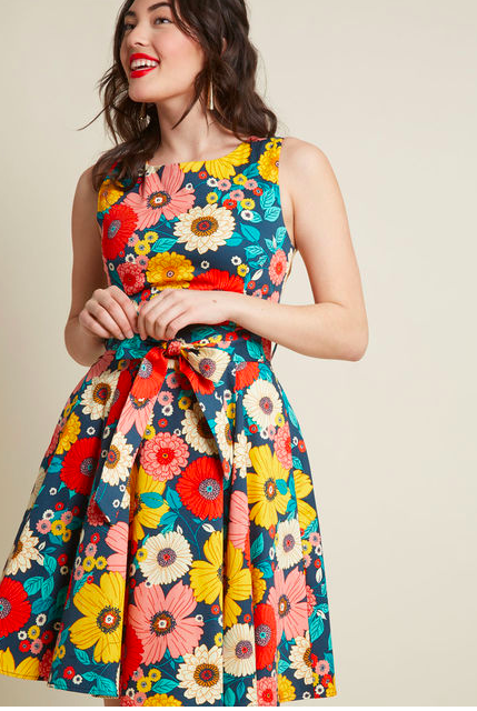 Flower A-Line Dress With Pockets