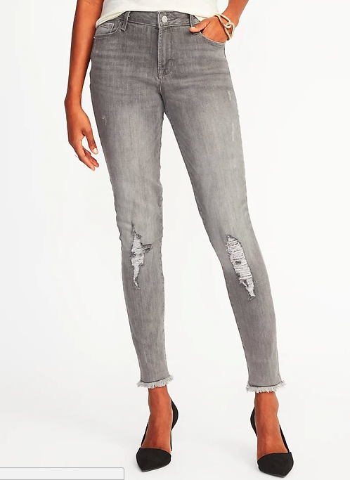 Gray skinny mid-rise jeans