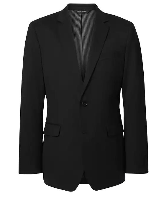 Men's Black Solid Italian Wool Suit Jacket