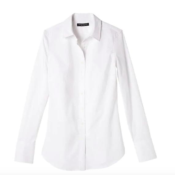 A crisp white button down shirt