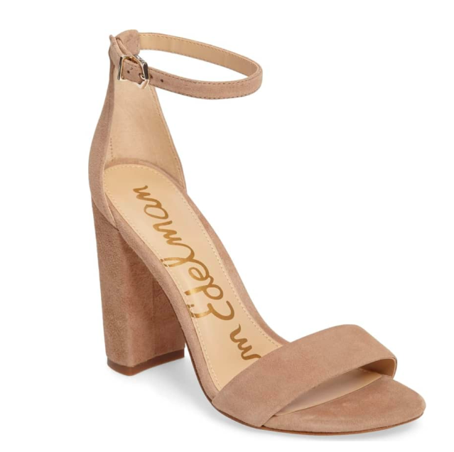 Suede Nude Block Sandal Heel