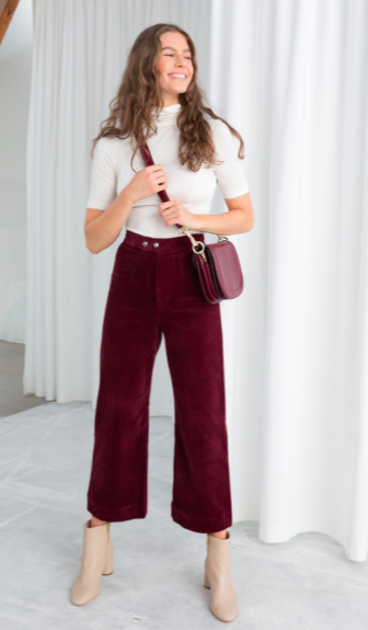Corduroy Culottes In Red