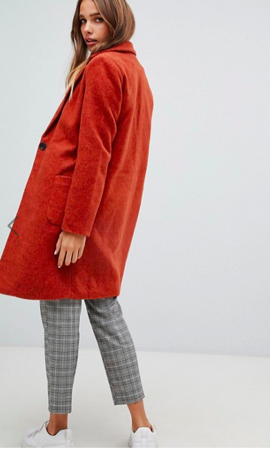 Oversized Coat In Burnt Orange