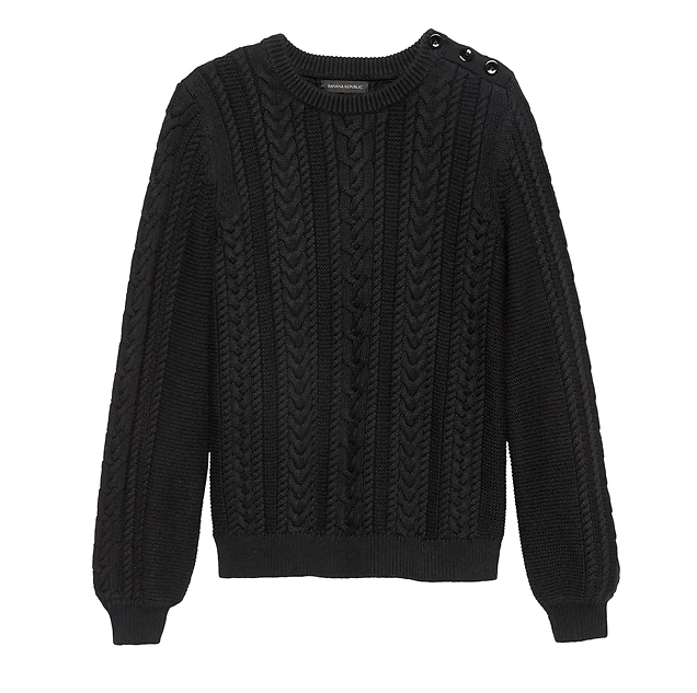 Cotton-Blend Cable-Knit Sweater
