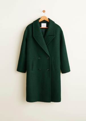 Green Double -Breasted Coat