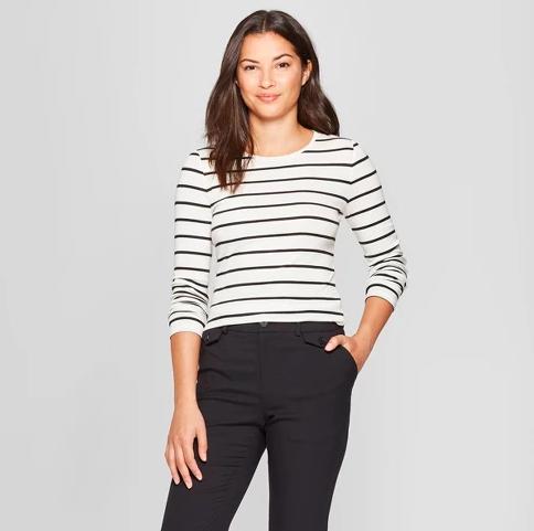 Crew Neck long sleeve striped shirt